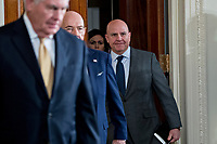H.R. McMaster, national security advisor, arrives to a news conference with U.S. President Donald Trump and Stefan Lofven, Sweden's prime minister, not pictured, in the East Room of the White House in Washington, D.C., U.S., on Tuesday, March 6, 2018. Trump and Lofven are looking to focus on trade and investment between the two countries and ways to achieve shared defense goals. <br /> CAP/MPI/RS<br /> &copy;RS/MPI/Capital Pictures