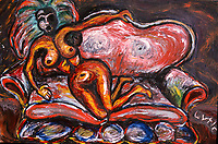 "Lady on Couch. Acrylic on Board. 32"" X 48"". 1998."