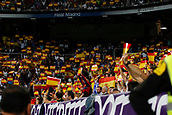 1st October 2017, Santiago Bernabeu, Madrid, Spain; La Liga football, Real Madrid versus Espanyol; The fans of Real Madrid, wearing flags of Spain, demonstrating their disagreement with the illegal referendum in Catalonia