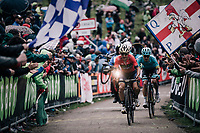 Domenico Pozzovivo (ITA/Bahrain-Merida) &amp; Miguel Angel Lopez (COL/Astana) up the infamous Monte Zoncolan (1735m/11%/10km)<br /> <br /> stage 14 San Vito al Tagliamento &ndash; Monte Zoncolan (186 km)<br /> 101th Giro d'Italia 2018