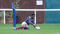 Matt Williams of London Scottish scores his try during the Greene King IPA Championship match between London Scottish Football Club and Jersey at Richmond Athletic Ground, Richmond, United Kingdom on 7 November 2015. Photo by Andy Rowland.