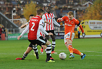 Blackpool's Callum Guy vies for possession with Exeter City's Jordan Tillson<br /> <br /> Photographer Kevin Barnes/CameraSport<br /> <br /> Emirates FA Cup First Round - Exeter City v Blackpool - Saturday 10th November 2018 - St James Park - Exeter<br />  <br /> World Copyright &copy; 2018 CameraSport. All rights reserved. 43 Linden Ave. Countesthorpe. Leicester. England. LE8 5PG - Tel: +44 (0) 116 277 4147 - admin@camerasport.com - www.camerasport.com
