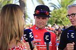 Nicolas Roche (IRL) Team Sunweb interviewed on Eurosport takes over the race leaders Red Jersey at the end of Stage 2 of La Vuelta 2019 running 199.6km from Benidorm to Calpe, Spain. 25th August 2019.<br /> Picture: Eoin Clarke | Cyclefile<br /> <br /> All photos usage must carry mandatory copyright credit (© Cyclefile | Eoin Clarke)