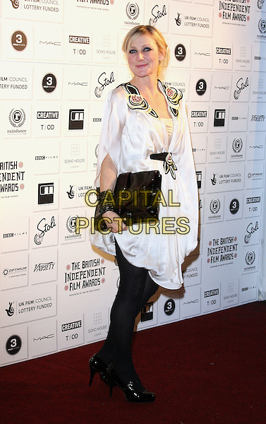 LESLEY SHARP.Attending The British Independent Film Awards,The Brewery, London, England, UK, December 6th 2009. .arrivals full length white dress black tights clutch bag patent shoes cuff bracelet waistband gold beaded studs studded .CAP/ROS.©Steve Ross/Capital Pictures
