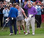 17.10.2014. The London Golf Club, Ash, England. The Volvo World Match Play Golf Championship.  Day 3 group stage matches.  Joost Luiten [NED] beats Graeme McDowell (NIR) by 2 on the 18th green.