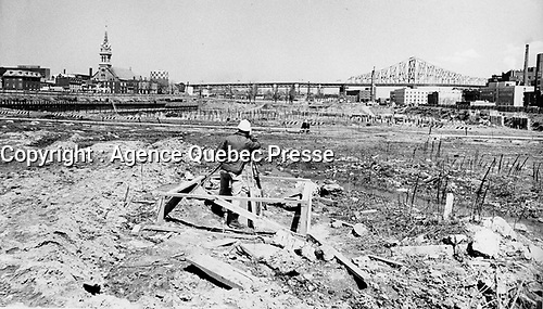 Undated file photo. The future site of Maison Radio Canada  in Montreal, circa 1970.<br /> <br /> After massive expropriations and demolition of a whole burrough in 1963, <br /> construction started in 1971 and it was  inaugurated in 1973. it is also home for the Canadian Broadcasting Corporation's operations in Montreal.<br /> <br /> <br /> <br /> Photo : AQP - Alain Renaud