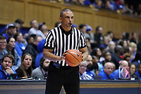 DURHAM, NC - JANUARY 26: Official Billy Smith holds the ball during a game between Georgia Tech and Duke at Cameron Indoor Stadium on January 26, 2020 in Durham, North Carolina.