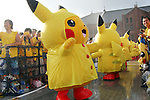 "August 12, 2016, Yokohama, Japan - Pikachu characters, Nintendo's videogame software Pokemon's wellknown character, in raincoat perform dancing at a show ""Super Soaking Splash Show"" in Yokohama, suburban Tokyo on Friday, August 12, 2016. The Pikachu mascots perfom the several shows daily to attract summer vacationers as a part of the ""Great Pikachu Outbreak"" event through August 14.    (Photo by Yoshio Tsunoda/AFLO) LWX -ytd-"