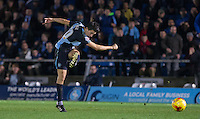 Luke O'Nien of Wycombe Wanderers fires a shot at goal during the Sky Bet League 2 match between Wycombe Wanderers and Oxford United at Adams Park, High Wycombe, England on 19 December 2015. Photo by Andy Rowland.