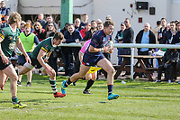 Jason Harries of London Scottish breaks free to score a try during the Greene King IPA Championship match between London Scottish Football Club and Nottingham Rugby at Richmond Athletic Ground, Richmond, United Kingdom on 15 April 2017. Photo by David Horn.