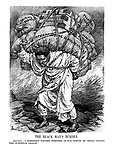 "The Black Man's Burden. Abyssinia. "" I sometimes wonder whether it was worth my while joining this European League."" (Abyssinia carries heavy loads of 'Mining Rights, European Jealousies, Frontier Troubles, Foreign Exploitation, Oil Concessions and International Complications' in a parody of Victorian poem 'The White Man's Burden')"