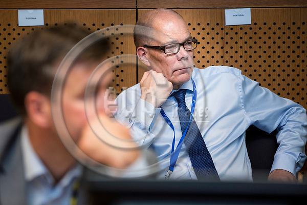 BRUSSELS - BELGIUM - 22 June 2017 -- Kare Halonen, State Secretary for EU affairs the Prime Minister's Office Head of EU Affairs Department. Listening to the Prime Minister's press conference. -- PHOTO: Juha ROININEN / EUP-IMAGES