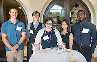 Graduating seniors in the class of 2016 gather for a reception with President Jonathan Veitch at the Samuelson Alumni Center.<br /> (Photo by Marc Campos, Occidental College Photographer)