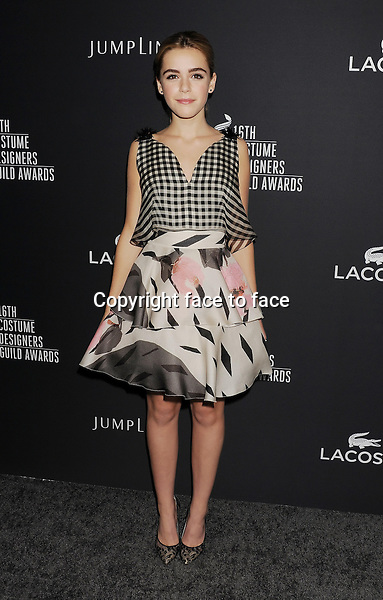 BEVERLY HILLS, CA- FEBRUARY 22: Actress Kiernan Shipka arrives at the 16th Costume Designers Guild Awards at The Beverly Hilton Hotel on February 22, 2014 in Beverly Hills, California.<br /> Credit: Mayer/face to face<br /> - No Rights for USA, Canada and France -