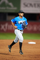 Hudson Valley Renegades outfielder Garrett Whitley (20) jogs to the dugout in between innings during a game against the Vermont Lake Monsters on September 3, 2015 at Centennial Field in Burlington, Vermont.  Vermont defeated Hudson Valley 4-1.  (Mike Janes/Four Seam Images)