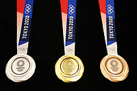 24th July 2020, Tokyo, Japan; The Tokyo 2020 Olympic medals are seen during the One Year to Go ceremony celebrating one year out from the start of the Tokyo 2020 Olympics Games in Tokyo, Japan,