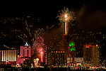 New Year's eve fireworks at downtown reno, nevada.
