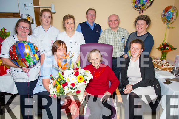 Sheila Kelleher  from Beaufort celebrating her 100th Birthday  in Ardagh Ward of the Kerry Genral Hospital on Thursday. Pictured here with staff Florence Kennedy,Marie Golly (Deputy General Manager), Tricia Tracy, Sadbh Corkery, Anna Marie Long, Frank Darcy, Fr. Martin Spillane, Kay Karim