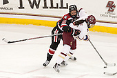 Jordan Krause (NU - 15), Dana Trivigno (BC - 8) - The Boston College Eagles defeated the Northeastern University Huskies 5-1 (EN) in their NCAA Quarterfinal on Saturday, March 12, 2016, at Kelley Rink in Conte Forum in Boston, Massachusetts.