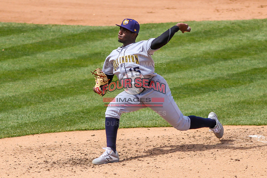 Burlington Bees pitcher Hector Yan (15) delivers a pitch during a Midwest League game against the Wisconsin Timber Rattlers on April 28, 2019 at Fox Cities Stadium in Appleton, Wisconsin. Wisconsin defeated Burlington 5-4. (Brad Krause/Four Seam Images)