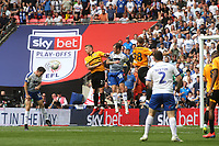 Connor Jennings scores Tranmere's opening goal with a fine header during Newport County vs Tranmere Rovers, Sky Bet EFL League 2 Play-Off Final Football at Wembley Stadium on 25th May 2019