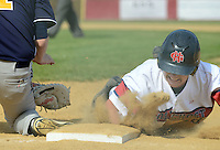 SGHOST22P <br /> Devon Prep first baseman Jimmy Loftus tries to tag Holy Ghost's John McNamee as he dives back to first base during a pick off attempt in the first inning Thursday April 21, 2016 at Holy Ghost Prep in Bensalem, Pennsylvania. (William Thomas Cain/For The Inquirer)