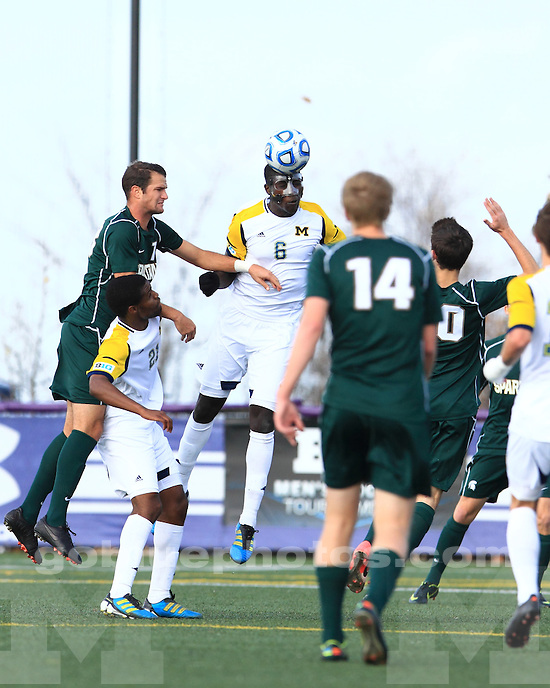 The University of Michigan men's soccer team fell to Michigan State, 2-1 in overtime, at the 2012 Big Ten Championship at Lakeside Field in Evanston Ill., on November 11, 2012.