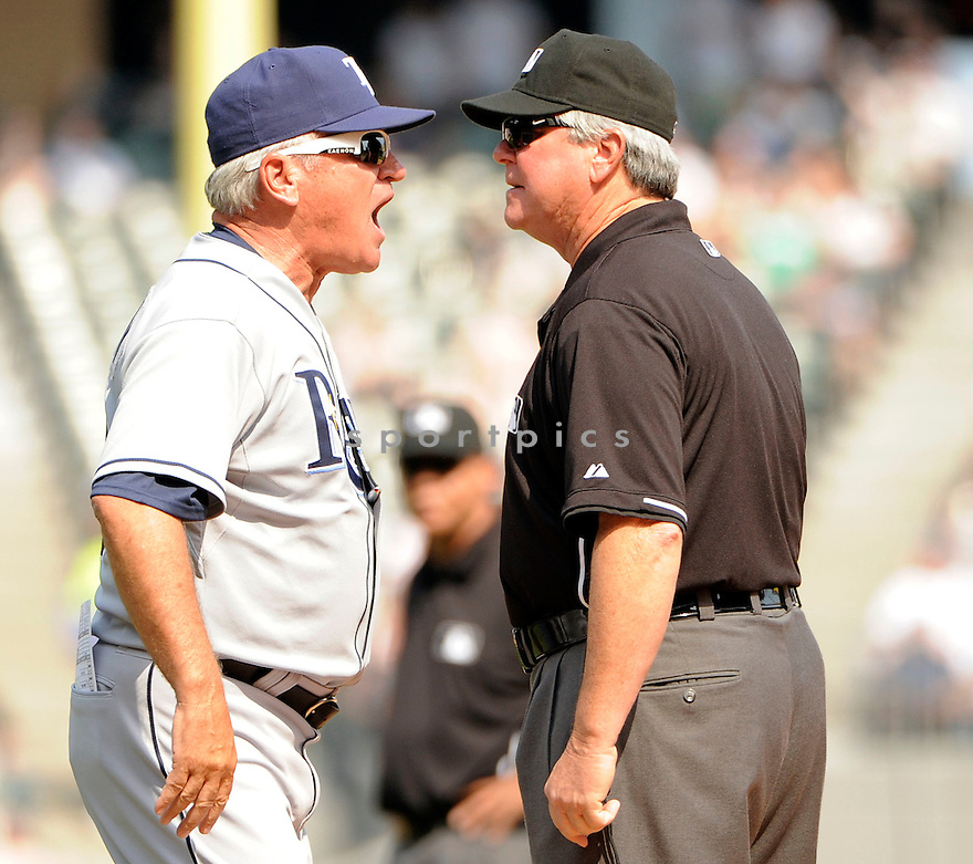 JOE MADDON, of the Tampa Bay Rays , in actions during the Rays game against the Chicago White Sox at US Cellular Field on April 10, 2011.  The Chicago White Sox won the game beating the Tampa Bay Rays 6-1.