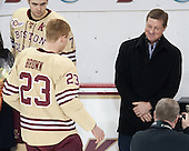Patrick Brown (BC - 23), Doug Brown - The visiting University of Notre Dame Fighting Irish defeated the Boston College Eagles 2-1 in overtime on Saturday, March 1, 2014, at Kelley Rink in Conte Forum in Chestnut Hill, Massachusetts.