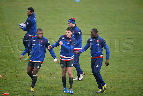 23.02.2016. CNR Marcoussis, Paris, France. The French nationaol rugby team at practise before their 6 Nations game against Wales on 25th February 2016.  Francois TRINH DUC (fra) and Virimi VAKATAWA (fra) - Djibril CAMARA (fra)