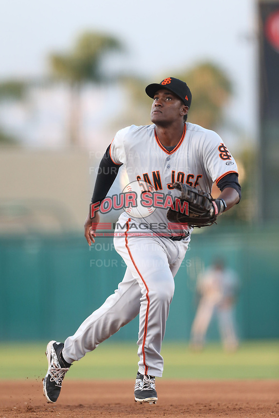 Brian Ragira #55 of the San Jose Giants during a game against the Inland Empire 66ers at San Manuel Stadium on May 31, 2014 in San Bernardino, California. Inland Empire defeated San Jose, 4-0. (Larry Goren/Four Seam Images)