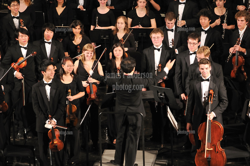 On Stage at Woolsey Hall, the Yale Symphony Orchestra performing Parents Weekend Concert at Woolsey Hall, Yale University New Haven CT, on 25 October 2008