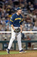Michigan Wolverines pitcher Tommy Henry (47) screams  in celebration after his complete game shutout against the Florida State Seminoles during the NCAA College World Series on June 17, 2019 at TD Ameritrade Park in Omaha, Nebraska. Michigan defeated Florida State 2-0. (Andrew Woolley/Four Seam Images)