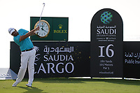 Victor Dubuisson (FRA) on the 16th during Round 3 of the Saudi International at the Royal Greens Golf and Country Club, King Abdullah Economic City, Saudi Arabia. 01/02/2020<br /> Picture: Golffile | Thos Caffrey<br /> <br /> <br /> All photo usage must carry mandatory copyright credit (© Golffile | Thos Caffrey)