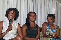 St. Louis area natives Connie Teaberry, Gwen Berry, and Jackie Joyner-Kersee participant in the panel discussion during the Brittany Borman Foundation Olympic Celebration, Friday, September 13, 2013, in Festus, Missouri.