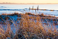 Norway, Rogaland. Sunset at Selestranda beach  in the winter.