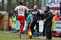 Lucas Akins of Stevenage celebrates scoring their third goal with manager Gary Smith. Stevenage v Sheffield United - npower League 1 -  Lamex Stadium, Stevenage - 16th March, 2013. © Kevin Coleman 2013.. . . .