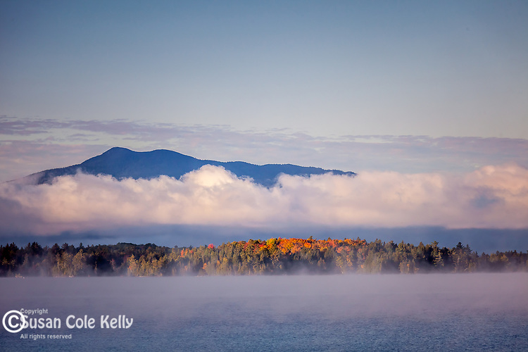 Sunrise fog on Moosehead Lake, Lily Bay State Park, ME, USA