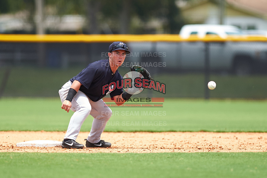 GCL Yankees East second baseman Jose Carrera (2) waits to receive a throw from the catcher on a stolen base attempt during the second game of a doubleheader against the GCL Yankees West on July 19, 2017 at the Yankees Minor League Complex in Tampa, Florida.  GCL Yankees West defeated the GCL Yankees East 3-1.  (Mike Janes/Four Seam Images)