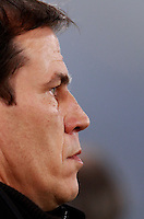 Calcio, quarti di finale di Coppa Italia: Roma vs Juventus. Roma, stadio Olimpico, 21 gennaio 2014.<br /> AS Roma coach Rudi Garcia, of France, looks on prior to the start of the Italian Cup round of eight final football match between AS Roma and Juventus, at Rome's Olympic stadium, 21 January 2014.<br /> UPDATE IMAGES PRESS/Isabella Bonotto