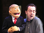 "Donald Trump Puppet Puppet during the cast of ""Avenue Q"" Hosts Town Hall With A Debate Between Puppets Hillary Clinton, ""I'm with Fur"" played by Maggie Lakis & Donald Trump, ""Make Puppets Great Again"" played by Rob McClure at the New World Stages on September 26, 2016 in New York City."
