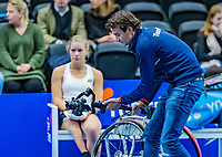 Alphen aan den Rijn, Netherlands, December 15, 2018, Tennispark Nieuwe Sloot, Ned. Loterij NK Tennis,Jan Willem de Lange making a video production, on the bench: Dide de Groot (NED)<br /> Photo: Tennisimages/Henk Koster