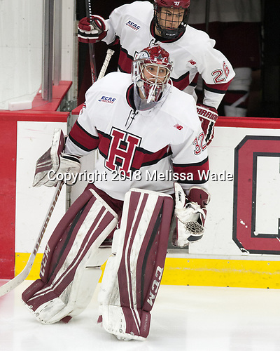Cameron Gornet (Harvard - 32), Jacob Olson (Harvard - 26) - The visiting Colgate University Raiders shut out the Harvard University Crimson for a 2-0 win on Saturday, January 27, 2018, at Bright-Landry Hockey Center in Boston, Massachusetts.The visiting Colgate University Raiders shut out the Harvard University Crimson for a 2-0 win on Saturday, January 27, 2018, at Bright-Landry Hockey Center in Boston, Massachusetts.