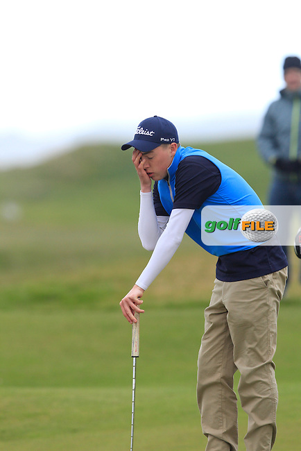 Kevin LeBlanc (The Island) on the 16th green during Round 4 of the Irish Amateur Open Championship at Royal Dublin on Sunday 10th May 2015.<br /> Picture:  Thos Caffrey / www.golffile.ie