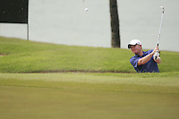Overnight leader James Morrison (ENG) plays out of a bunker at the 15th green during Friday's  Round 2 of the 2011 Barclays Singapore Open, Singapore, 11th November 2011 (Photo Eoin Clarke/www.golffile.ie)