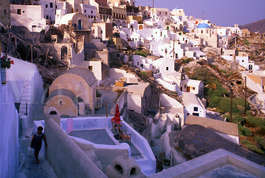 A colorful village on the island of Santorini, Greece.