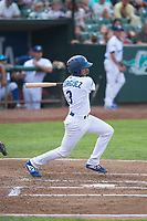Ogden Raptors catcher Ramon Rodriguez (3) follows through on his swing during a Pioneer League game against the Great Falls Voyagers at Lindquist Field on August 23, 2018 in Ogden, Utah. The Ogden Raptors defeated the Great Falls Voyagers by a score of 8-7. (Zachary Lucy/Four Seam Images)