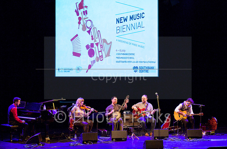 New Music Biennial <br /> a weekend of free music<br /> a PRS for Music Foundation initiative in partnership with Creative Scotland, Arts Council England and the British Council. In collaboration with Radio 3 , NMC Recordings, Southbank Centre Glasgow UNESCO City of Music and Sinfini Music.<br /> at The Southbank Centre, London, Great Britain<br /> 4th July 2014 <br /> <br /> day 1<br /> <br /> opening debate chaired by Peter Wiegold<br /> Purcell Room<br /> with Gwilym Simcock<br /> Chris Wood<br /> Errollyn Wallen<br /> Arlene Sierra <br /> <br /> Bourne / Davis / Kane <br /> Friday tonic <br /> <br /> Mattieu Watson &amp; Luke Daniels<br /> New World Drovers<br /> <br /> Shingai Shoniwa : Stars Align <br /> Queen Elizabeth Hall <br /> <br /> Photograph by Elliott Franks