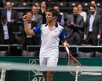 Rotterdam, The Netherlands. 13.02.2014. ABN AMRO World tennis Tournament, Igor Sijsling (NED)wins <br /> Photo:Tennisimages/Henk Koster