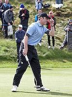 27 May 2015; James Nesbitt acknowledges the applause of the crowd at the 10th<br /> <br /> Dubai Duty Free Irish Open Golf Championship 2015, Pro-Am. Royal County Down Golf Club, Co. Down. Picture credit: John Dickson / DICKSONDIGITAL